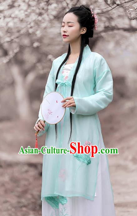 Asian Chinese Song Dynasty Princess Costume Embroidery Long BeiZi, Ancient China Palace Lady Embroidered Green Cardigan for Women