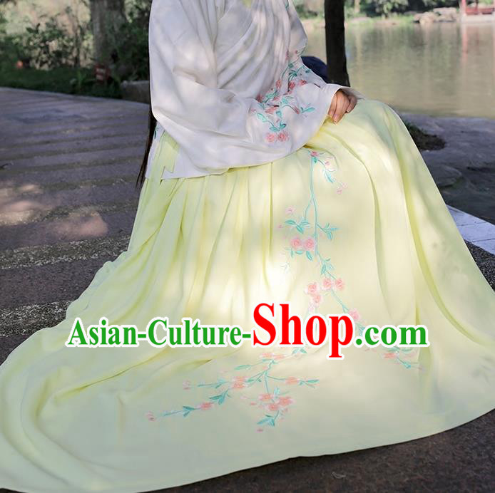 Traditional Chinese Ancient Hanfu Princess Costume Yellow Bust Skirts, Asian China Ming Dynasty Embroidered Dress for Women