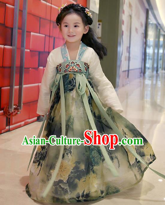 Asian China Ancient Han Dynasty Costume Grey Dress, Traditional Chinese Princess Printing Clothing for Kids