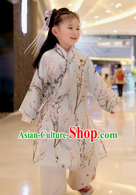 Asian Chinese Han Dynasty Children Hanfu Costume Complete Set, Traditional China Ancient Printing Blouse and Pants Clothing for Kids