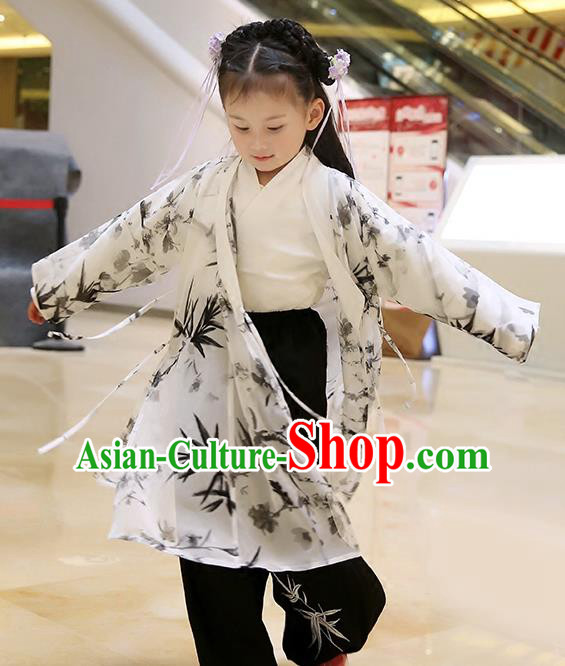 Asian Chinese Han Dynasty Children Hanfu Costume Complete Set, Traditional China Ancient Printing Bamboo Blouse and Pants Clothing for Kids