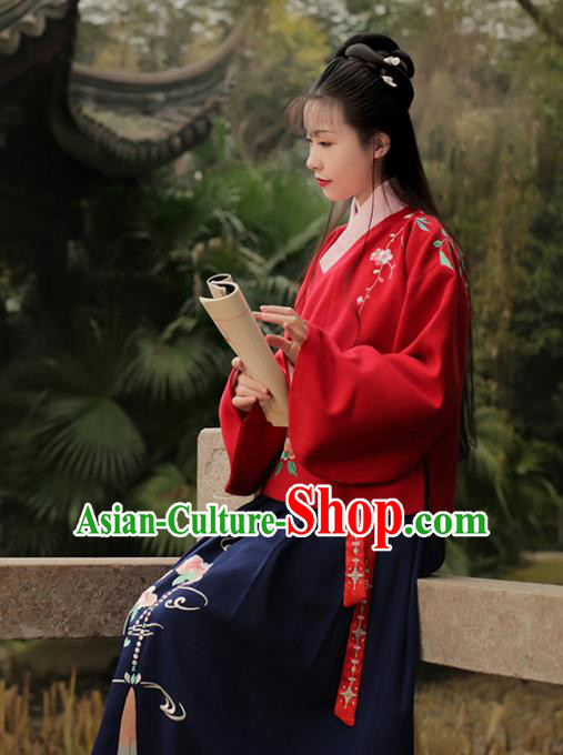 Asian Chinese Ming Dynasty Young Lady Costume Embroidery Red Blouse and Slip Skirt, Traditional China Ancient Embroidered Clothing for Women