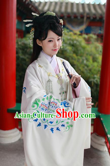 Asian Chinese Tang Dynasty Imperial Princess Costume, Traditional China Ancient Palace Lady Embroidered White Cloak for Women
