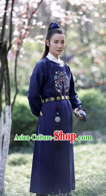 Asian Chinese Ming Dynasty Imperial Guards Swordsman Embroidered Blue Robe Clothing