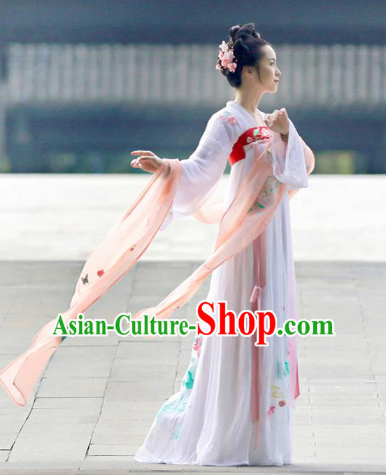 Asian Chinese Tang Dynasty Imperial Princess Costume, Ancient China Palace Lady Embroidered Lotus Dress Clothing