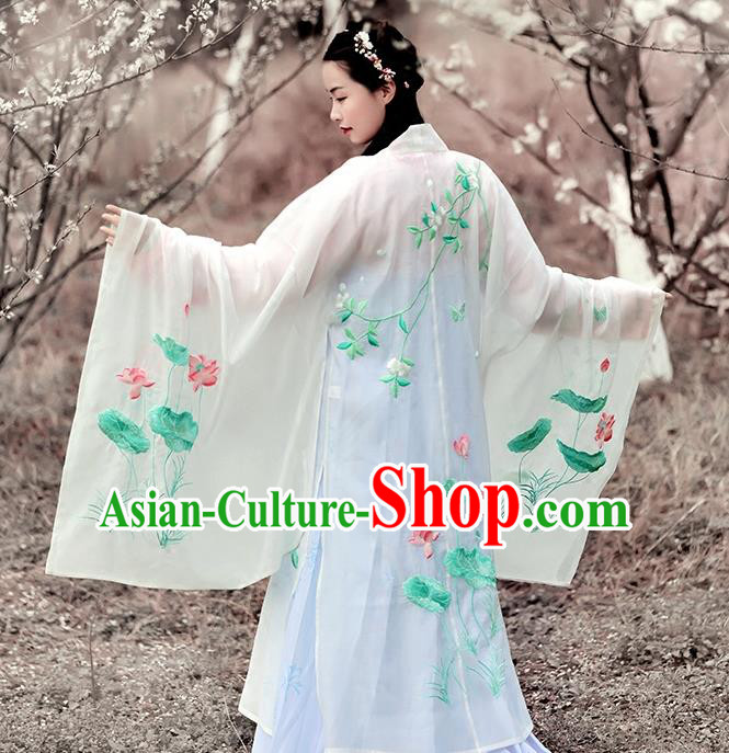 Asian Chinese Tang Dynasty Princess Costume Embroidery Lotus Wide Sleeve Cloak, Ancient China Palace Lady Embroidered White Cardigan for Women