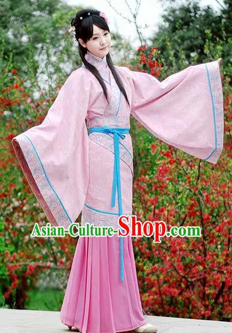 Asian Chinese Han Dynasty Princess Costume Pink Curve Bottom, Ancient China Embroidered Dress Clothing for Women