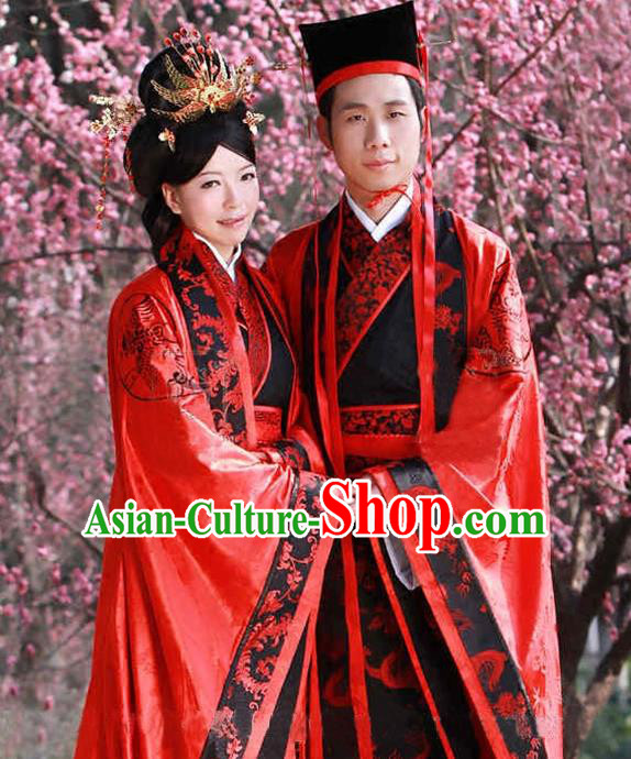 Asian Chinese Zhou Dynasty Wedding Costume Complete Set, Ancient China Bride and Bridegroom Embroidered Clothing for Women for Men