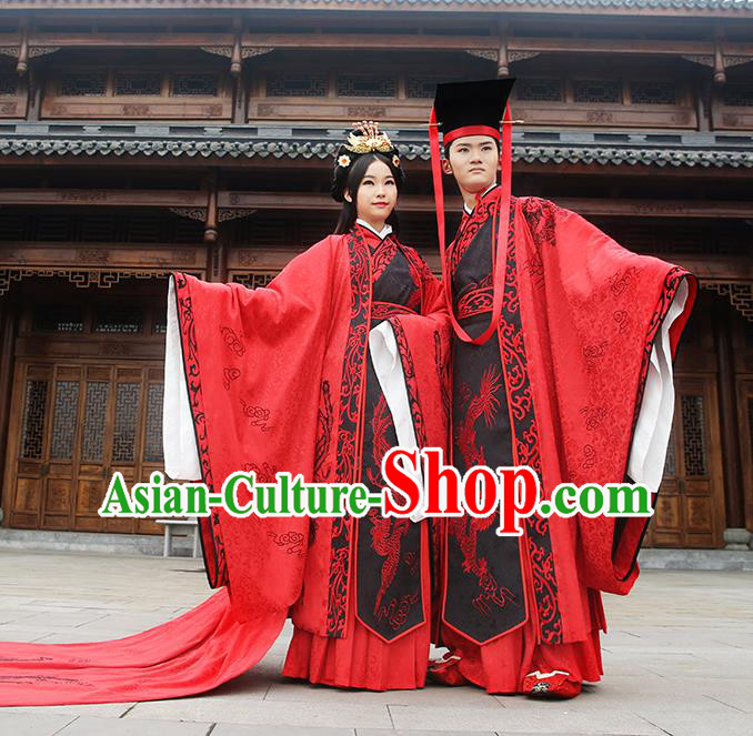 Asian Chinese Zhou Dynasty Wedding Costume Complete Set, Ancient China Bride and Bridegroom Embroidered Red Clothing for Women for Men