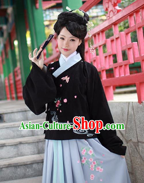 Asian Chinese Ming Dynasty Princess Costume Embroidery Black Blouse, Ancient China Palace Lady Embroidered Upper Outer Garment Clothing for Women