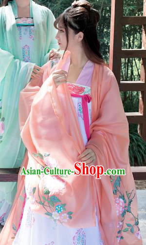 Asian Chinese Tang Dynasty Princess Embroidery Costume Orange Cloak, Ancient China Palace Lady Embroidered Wide Sleeve Cardigan for Women