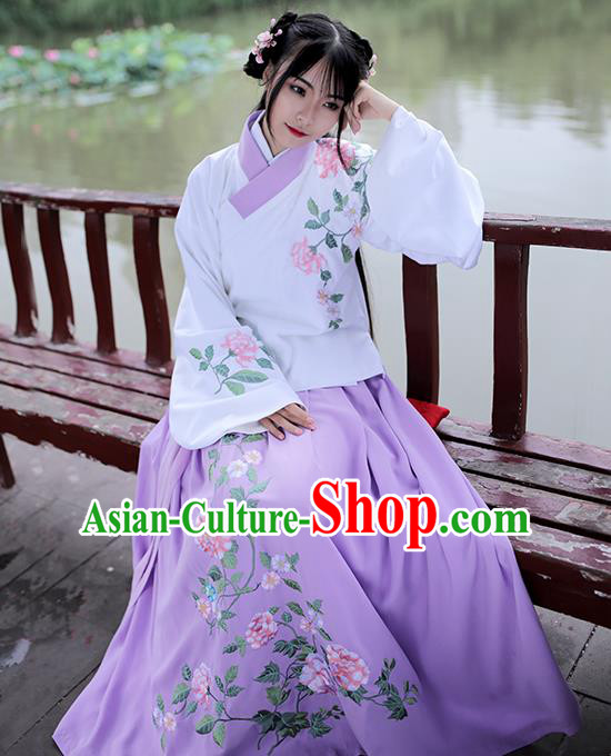 Asian Chinese Ming Dynasty Young Lady Costume Purple Embroidery Blouse, Ancient China Princess Embroidered Clothing for Women