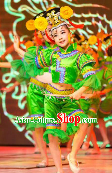 Traditional Chinese Lotus Dancing Costume, Chinese Classical Folk Dance Drun Dance Clothing for Kids