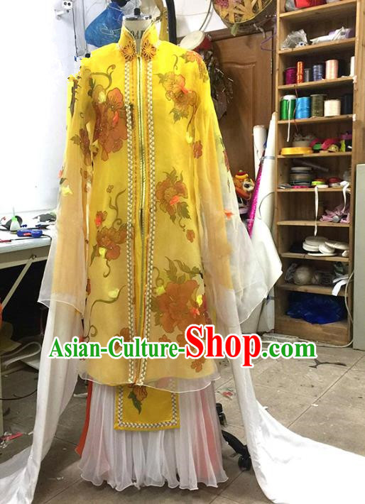 Traditional Chinese Peking Opera Dance Water Sleeve Yellow Costume, China Ancient Beijing Opera Hua Tan Fairy Dance Clothing for Women