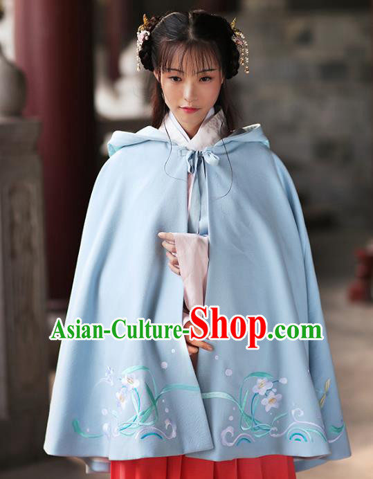 Asian Chinese Ming Dynasty Young Lady Blue Embroidered Cloak, Ancient China Princess Hanfu Short Mantle Clothing for Women
