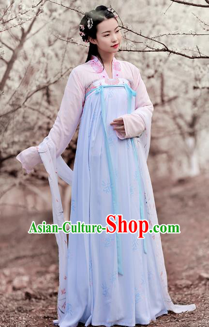 Asian Chinese Tang Dynasty Palace Lady Embroidered Blouse and Slip Skirts, Ancient China Princess Hanfu Clothing for Women