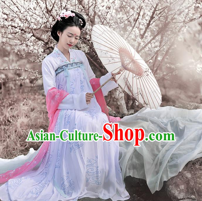 Asian Chinese Tang Dynasty Palace Lady Embroidered Costume Complete Set, Ancient China Princess Blouse and Skirt Clothing for Women