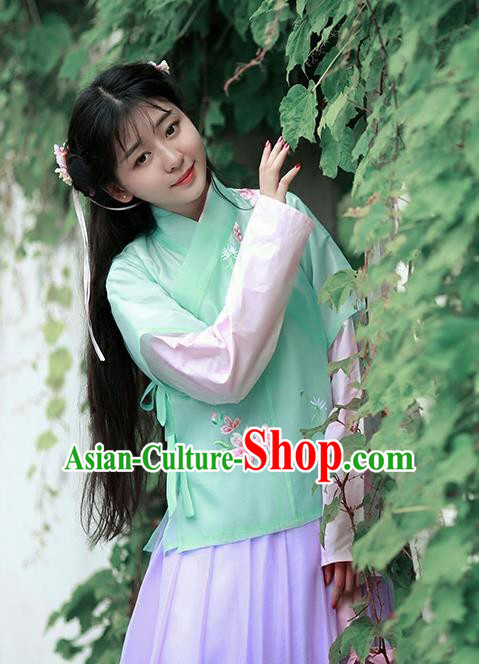 Asian Chinese Song Dynasty Young Lady Embroidered Costume Complete Set, Ancient China Princess Half-Sleeves Blouse and Skirt Clothing for Women