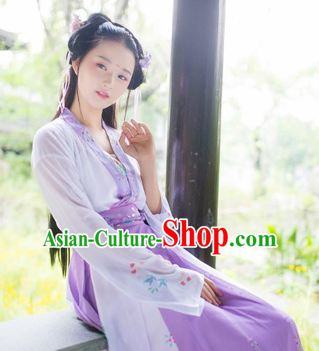 Asian Chinese Tang Dynasty Princess Embroidered Costume, Ancient China Young Lady Embroidery Blouse and Skirt Complete Set