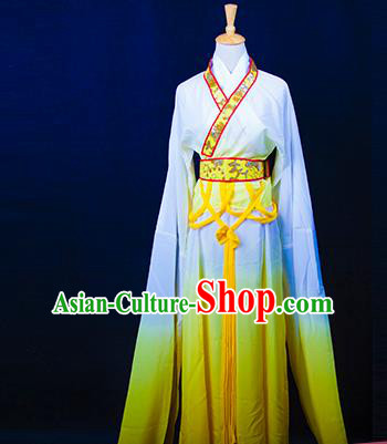 Traditional Chinese Tang Dynasty Young Lady Costume, China Ancient Princess Embroidered Fairy Yellow Dress Clothing for Women