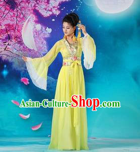 Traditional Ancient Chinese Palace Lady Dance Costume, Asian Chinese Tang Dynasty Fairy Yellow Dress Clothing for Women
