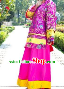 Traditional Ancient Chinese Republic of China Nobility Lady Rosy Costume, Asian Chinese Qing Dynasty Embroidered Clothing for Women