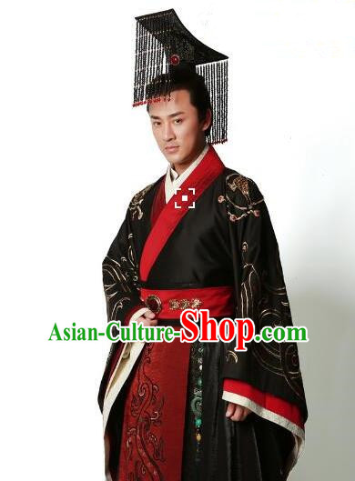 Traditional Ancient Chinese Hanfu Majesty Costume, Asian Chinese Han Dynasty Emperor Robe Clothing for Men