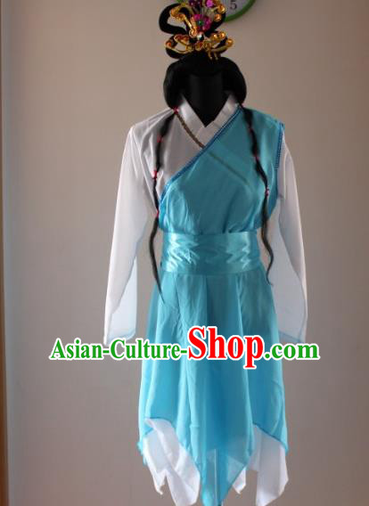 Traditional Ancient Chinese Swordswoman Huang Rong Hanfu Blue Costume, Asian Chinese Song Dynasty Embroidered Clothing for Women