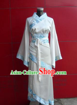 Asian China Ancient Han Dynasty Young Lady Costume, Traditional Chinese Hanfu Embroidered Dress Clothing for Women
