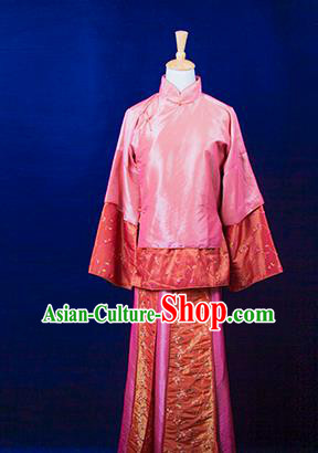 Traditional Ancient Chinese Nobility Lady Pink Costume, Asian Chinese Republic of China Xiuhe Suit Embroidered Clothing for Women