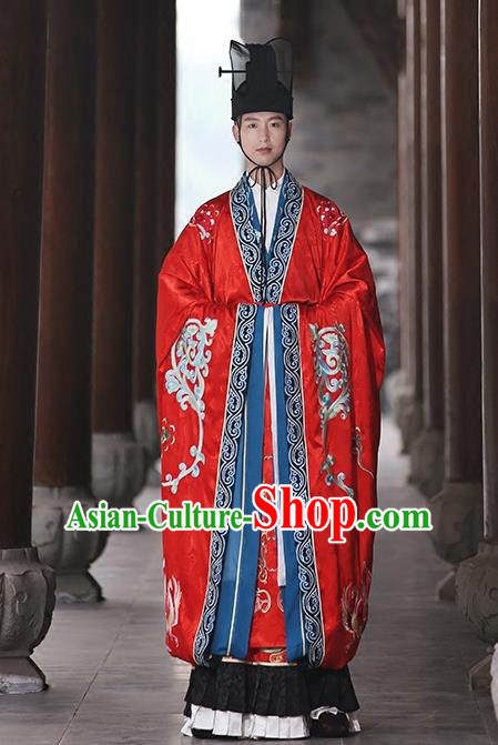 Asian Chinese Tang Dynasty Wedding Bridegroom Embroidered Costume, Ancient China Emperor Embroidery Clothing Complete Set