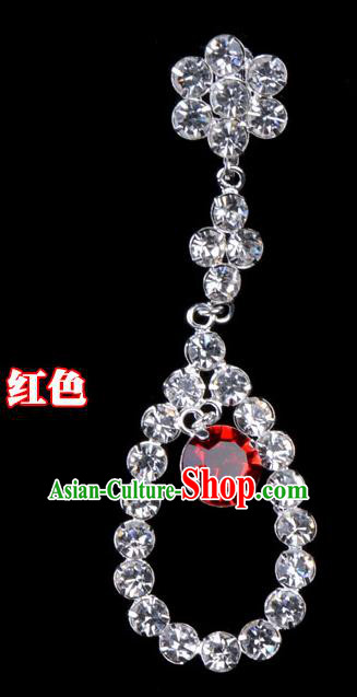 Traditional Beijing Opera Diva Jewelry Accessories Red Crystal Tassel Earrings, Ancient Chinese Peking Opera Hua Tan Eardrop