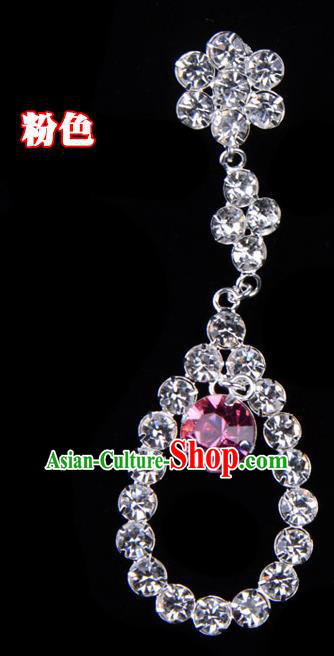 Traditional Beijing Opera Diva Jewelry Accessories Pink Crystal Tassel Earrings, Ancient Chinese Peking Opera Hua Tan Eardrop