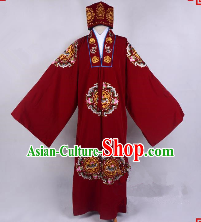 Top Grade Professional Beijing Opera Old Men Costume Red Embroidered Cape, Traditional Ancient Chinese Peking Opera Ministry Councillor Embroidery Robe Clothing