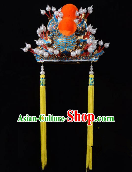 Traditional Beijing Opera Niche Hair Accessories Emperor Hat, Ancient Chinese Peking Opera Royal Highness Hat Headwear