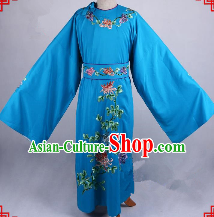 Top Grade Professional Beijing Opera Niche Costume Gifted Scholar Blue Embroidered Robe, Traditional Ancient Chinese Peking Opera Embroidery Chrysanthemum Clothing