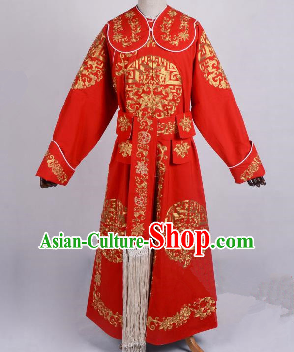 Traditional China Beijing Opera Takefu Costume, Ancient Chinese Peking Opera Wu-Sheng General Warrior Embroidery Red Clothing