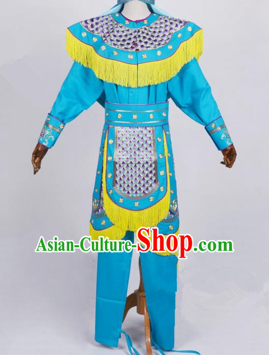 Top Grade Professional Beijing Opera Female Warriors Costume Swordplay Blue Embroidered Dress, Traditional Ancient Chinese Peking Opera Blues Embroidery Clothing