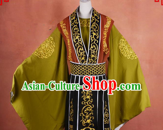 Top Grade Professional Beijing Opera Taoist Priest Costume Embroidered Robe, Traditional Ancient Chinese Peking Opera Elder Zhang Guo Embroidery Clothing