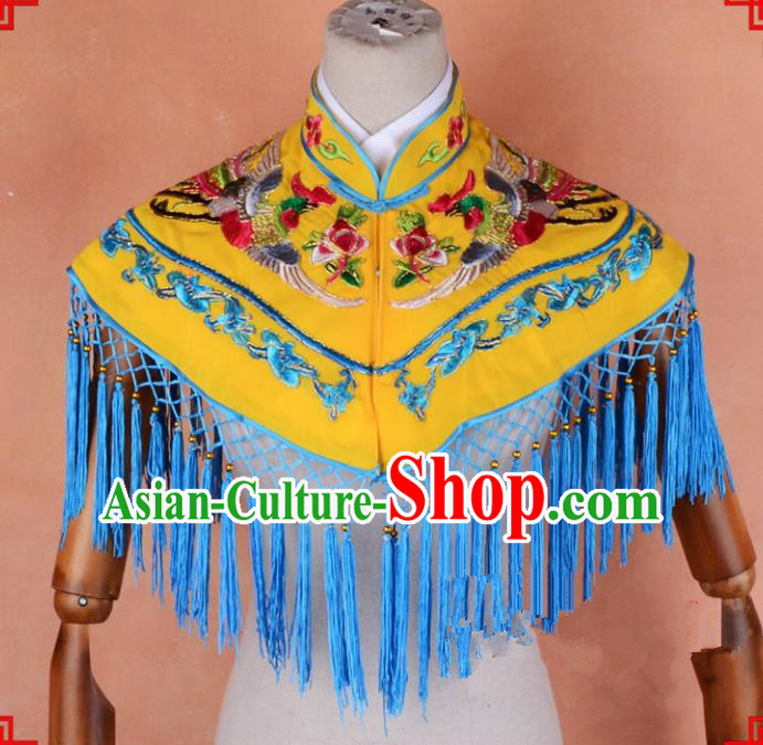 Top Grade Professional Beijing Opera Palace Lady Costume Hua Tan Yellow Embroidered Cloud Shoulder, Traditional Ancient Chinese Peking Opera Diva Embroidery Clothing