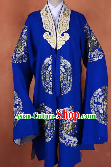 Top Grade Professional Beijing Opera Old Women Costume Pantaloon Blue Embroidered Robe, Traditional Ancient Chinese Peking Opera Landlord Shiva Embroidery Clothing