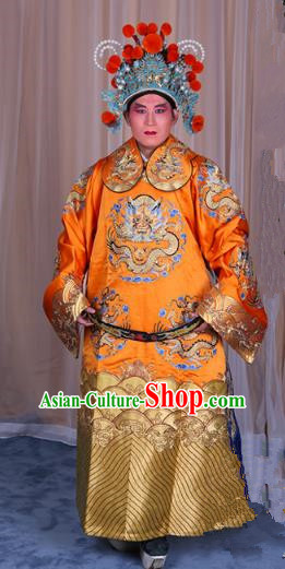 Top Grade Professional Beijing Opera Emperor Costume Yellow Embroidered Robe Gwanbok, Traditional Ancient Chinese Peking Opera Royal Highness Embroidery Dragons Clothing