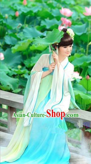 Traditional Ancient Chinese Tang Dynasty Imperial Consort Hanfu Dance Costume, Chinese Palace Lady Elegant Green Dress Clothing