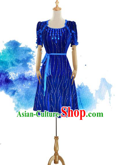 Traditional Chinese National Costume Elegant Hanfu Blue Short Dress, China Tang Suit Plated Buttons Chirpaur Cheongsam Qipao for Women