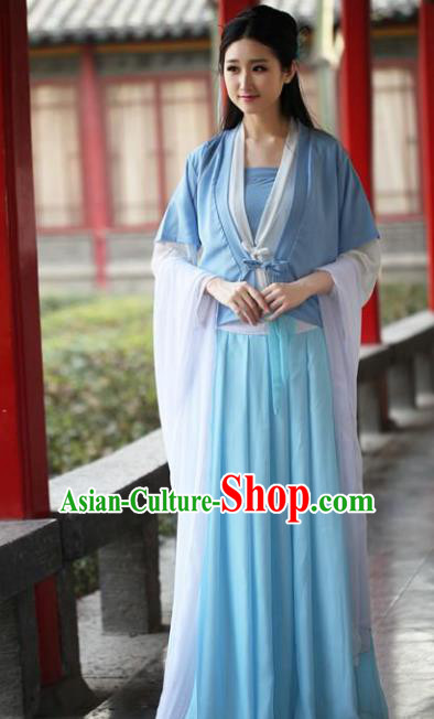 Traditional Ancient Chinese Swordswoman Embroidered Costume Blouse and Slip Skirt, Elegant Hanfu Chinese Tang Dynasty Palace Lady Dress Clothing