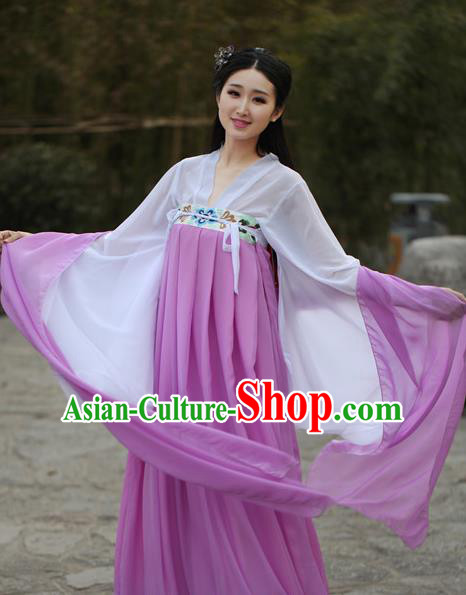 Traditional Ancient Chinese Tang Dynasty Young Lady Embroidered Costume Blouse and Slip Skirt, Elegant Hanfu Chinese Dress Clothing