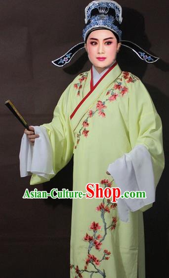 Traditional China Beijing Opera Niche Costume Yellow Embroidered Robe, Chinese Peking Opera Scholar Embroidery Clothing