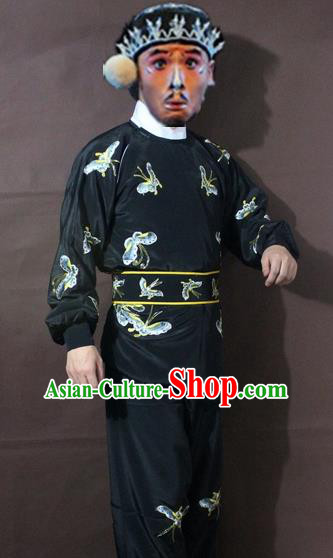 Traditional China Beijing Opera Takefu Embroidered Butterfly Black Costume, Chinese Peking Opera Warrior Clothing