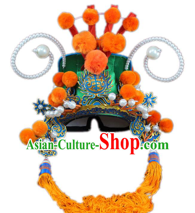 Traditional China Beijing Opera General Hats, Chinese Peking Opera Guan Gong Helmet Headwear