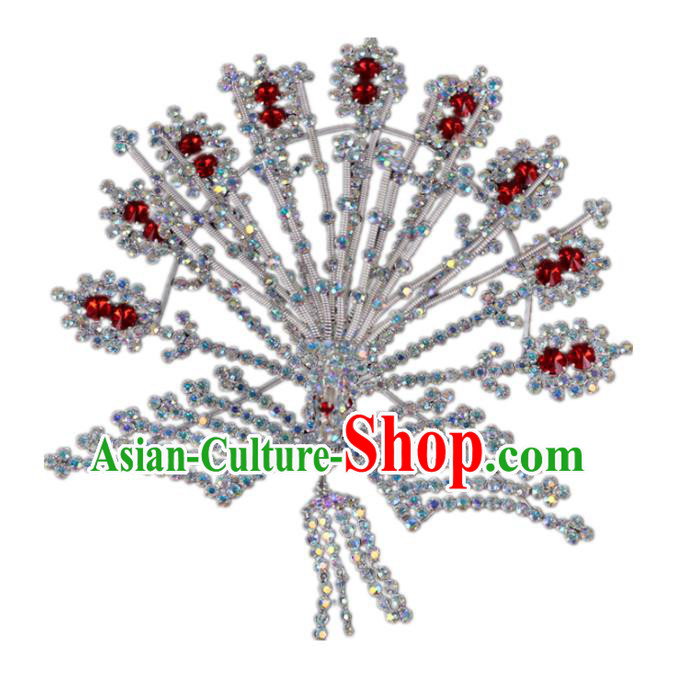 Traditional China Beijing Opera Actress Hair Accessories, Chinese Peking Opera Diva Phoenix Tassel Hairpins Headwear